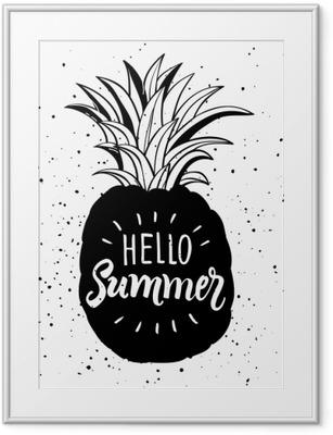 Käsin piirretty kuva eristetty ananas siluetti. typografia juliste kirjaimella hello kesällä Kehystetty kuva