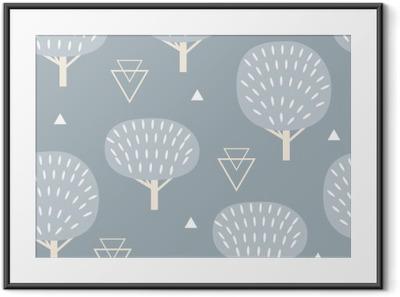 Bild i Ram Seamless mönster i modern skandinavisk stil. Vektorgeometri bakgrund av norra natur.