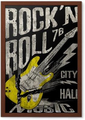 Rámovaný obraz Rock'n roll plakát kytara grafický design tee umění