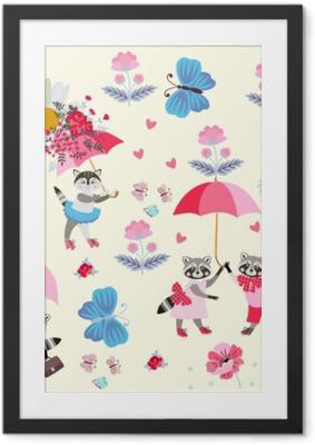 Immagine in Cornice Divertenti piccoli procioni e gattino con ombrelli rosa, farfalle, fiori e cuori isolati su sfondo giallo chiaro. modello infinito per i bambini. vector design primavera o estate.