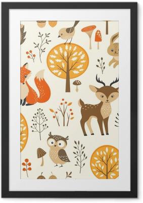Obrazek w ramie Autumn forest szwu z uroczych zwierzątek