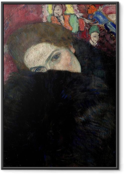 Gerahmtes Bild Gustav Klimt - Dame mit Hut und Federboa - Reproduktion