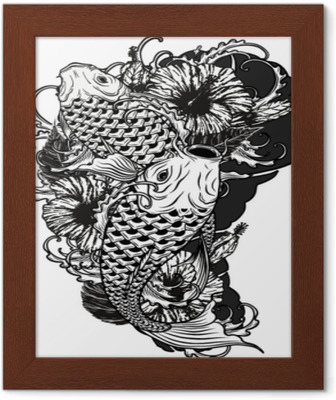 1b19d8c60 Carp fish and chrysanthemum tattoo by hand drawing.Tattoo art highly  detailed in line art style. Wall Mural • Pixers® • We live to change