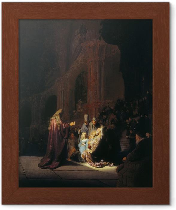 Ingelijste Poster Rembrandt van Rijn - De lofzang van Simeon - Reproducties