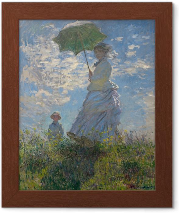Póster Enmarcado Claude Monet - Mujer con un parasol hacia la izquierda - Reproducciones