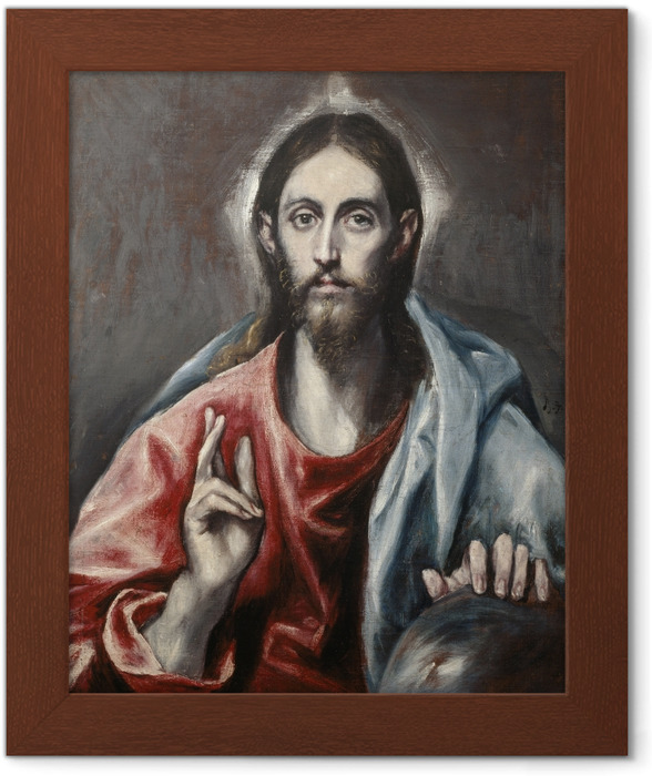 Poster i Ram El Greco - Välsignande Jesus - Reproduktioner