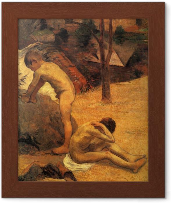 Póster Enmarcado Paul Gauguin - Bretón Niños Baño - Reproducciones