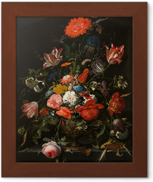 Plakat w ramie Abraham Mignon - Flowers in a Metal Vase - Reprodukcje