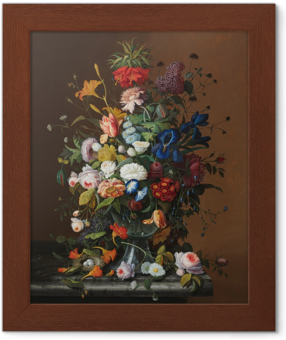 Poster en cadre Severin Roesen - Flower Still Life with Bird's Nest - Reproductions