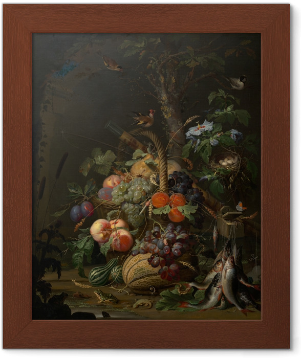Póster com Moldura Abraham Mignon - Still Life with Fruit, Fish and a Nest - Abraham Mignon