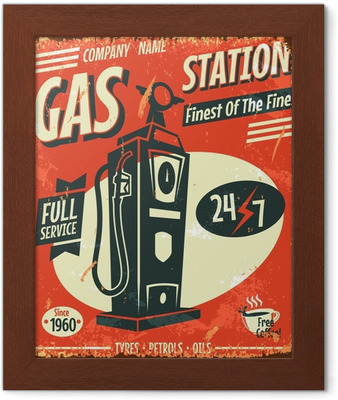Grunge retro gas station sign  Vector illustration