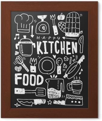 Cocina elementos garabatos mano línea trazada icono, eps10