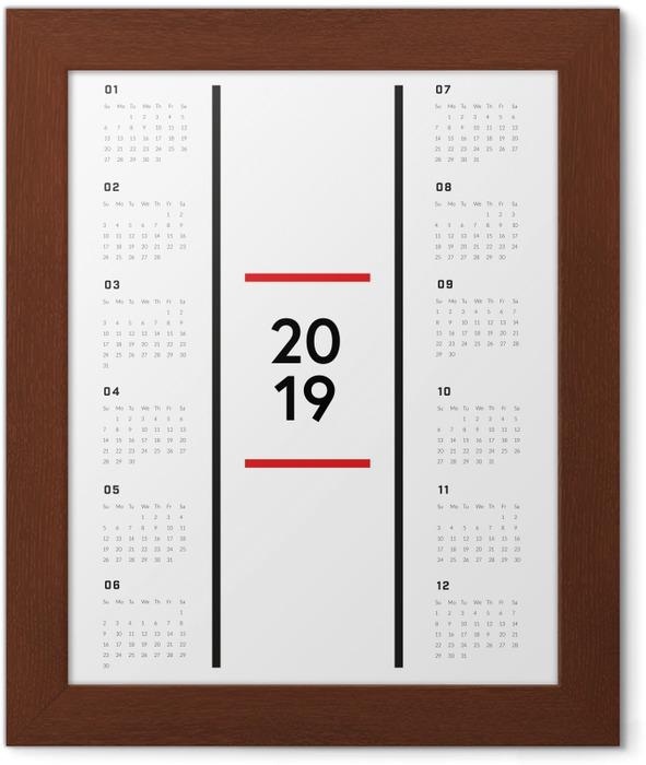 Calendar 2019 - Minimalist Framed Poster - Calendars 2019