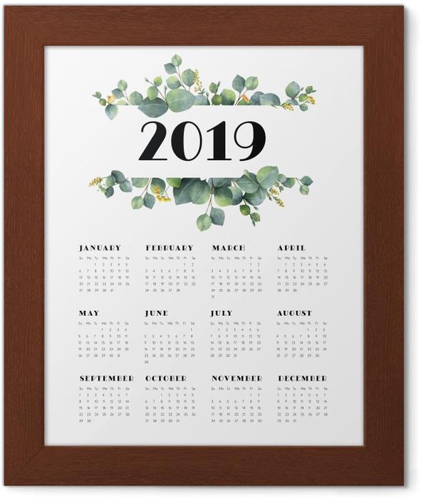 Calendar 2019 - leaves and white Framed Poster - Calendars 2019
