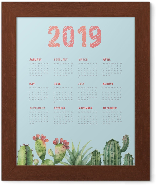 Calendar 2019 - cactus and turquoise Framed Poster - Calendars 2019