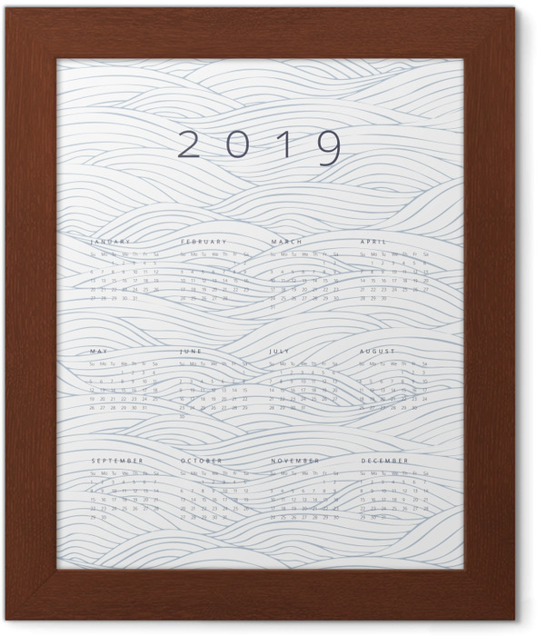 Calendar 2019 - waves Framed Poster - Calendars 2019