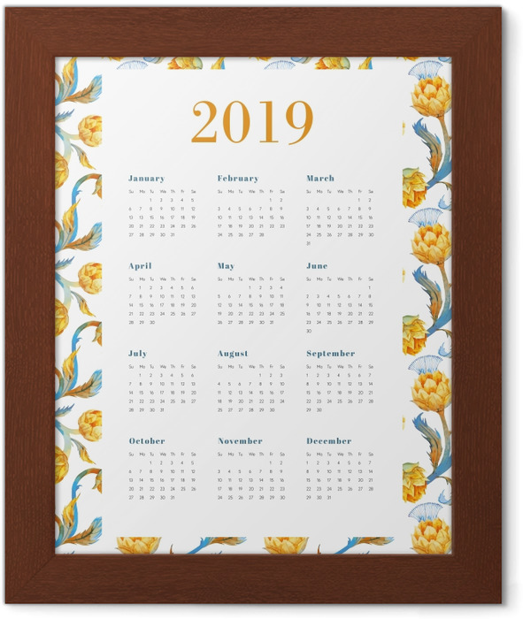 Calendar 2019 - Yellow flowers Framed Poster - Calendars 2019