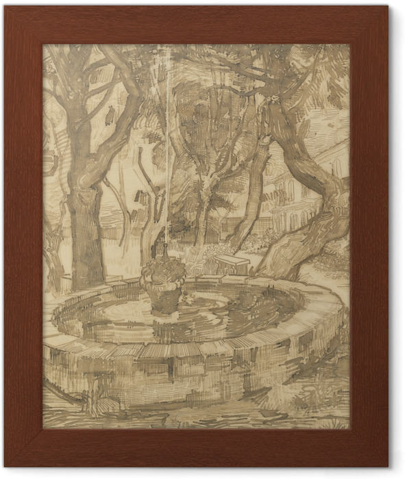 Vincent van Gogh - Fountain in the Garden of the Asylum Framed Poster - Reproductions