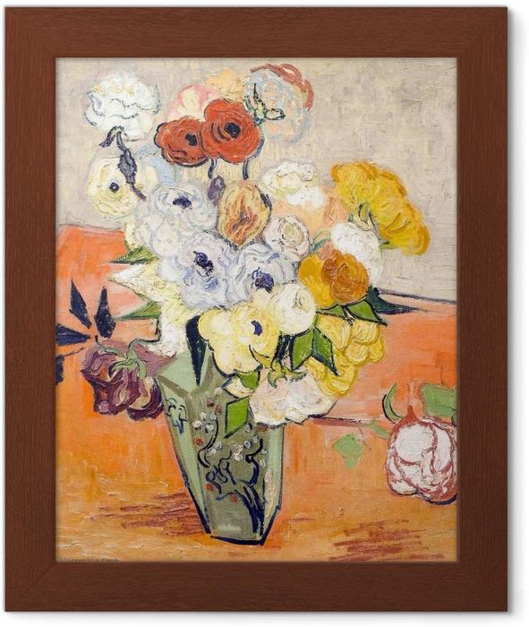 Gerahmtes Poster Vincent van Gogh - Rosen und Anemonen - Reproductions