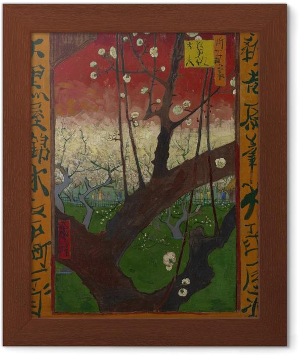 Çerçeveli Poster Vincent van Gogh - Çiçeklenme Erik Ağacı - Reproductions