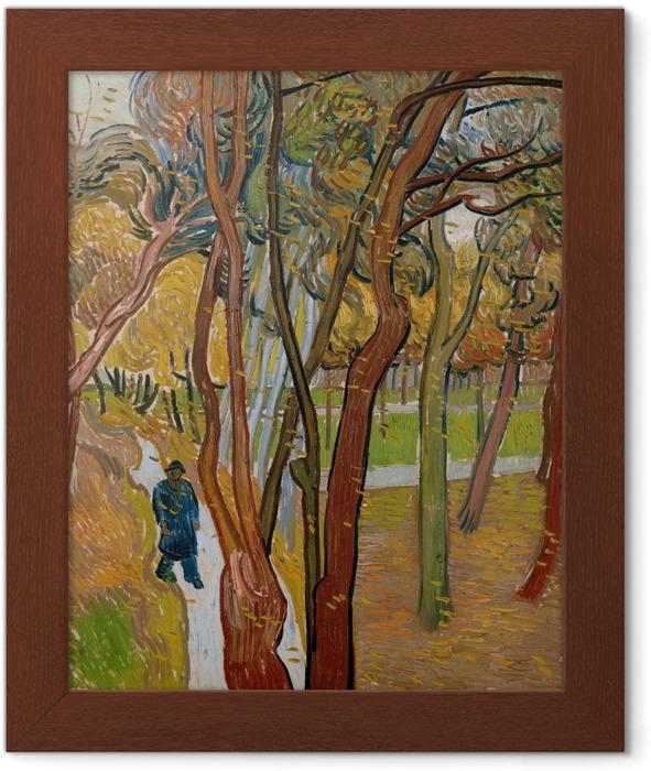 Ingelijste Poster Vincent van Gogh - Tuin van de inrichting Saint-Paul (Het vallen van de bladeren) - Reproductions