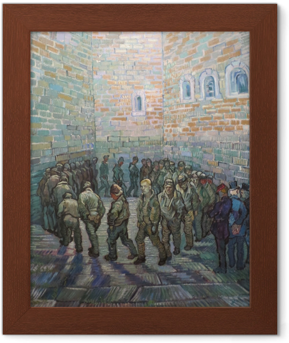 Vincent van Gogh - Prisoners on the patio Framed Poster - Reproductions