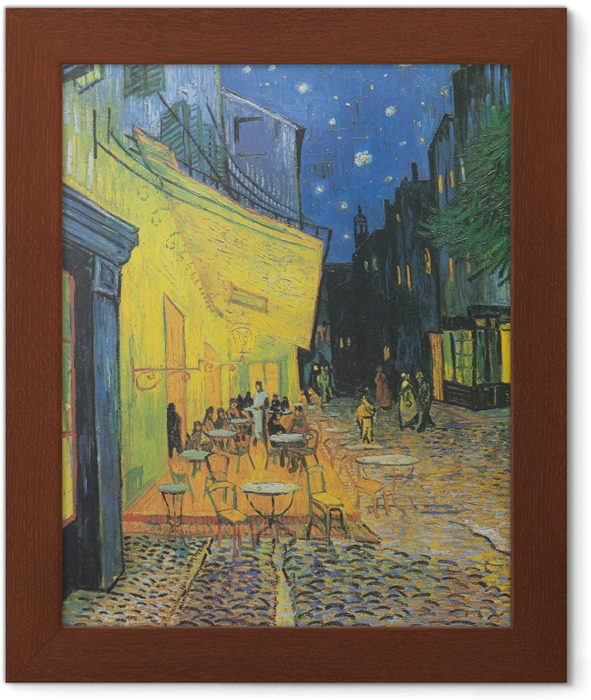 Vincent van Gogh - The Cafe Terrace on the Place du Forum, Arles, at Night Framed Poster - Reproductions
