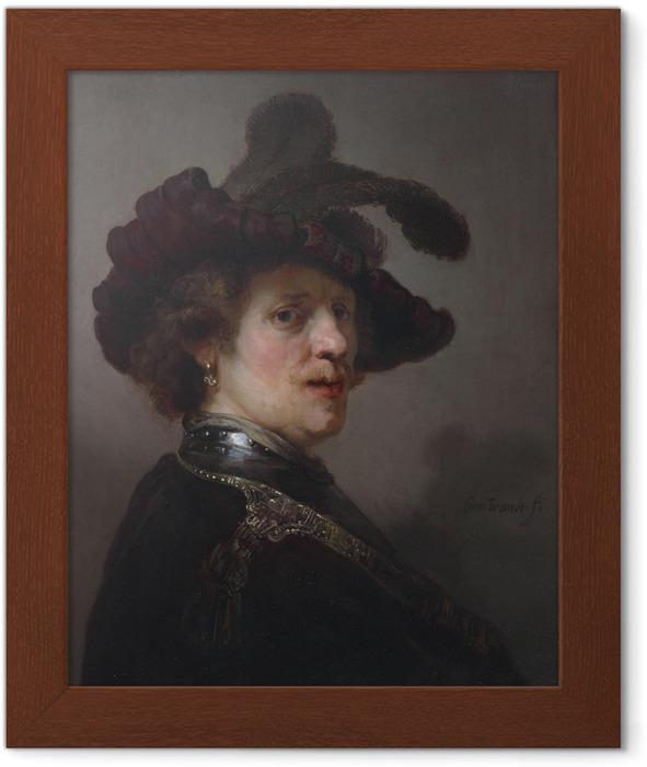 Póster Enmarcado Rembrandt - Autorretrato con el sombrero Emplumada - Reproducciones