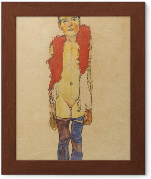 Póster Enmarcado Egon Schiele - Una muchacha con una boa - Reproducciones