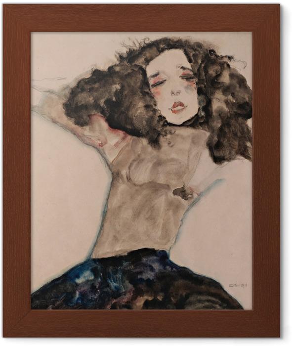 Plakat w ramie Egon Schiele - Czarnowłosa, naga dziewczyna - Reprodukcje