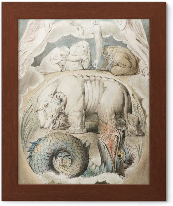 Plakat w ramie William Blake - Behemothi Lewiatan - Reprodukcje