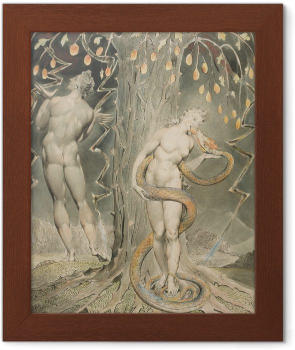 William Blake - Eve Tempted by the Serpent Framed Poster - Reproductions