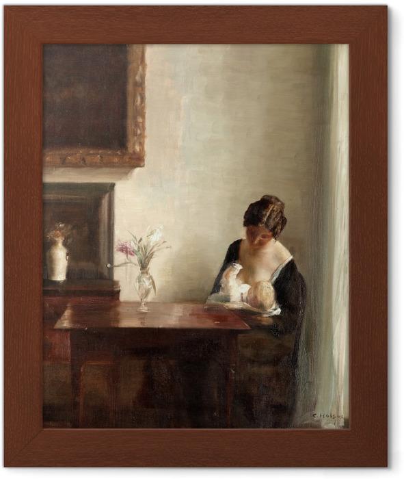 Plakat w ramie Carl Vilhelm Holsøe - Wnętrze z kobietą i dzieckiem - Reproductions