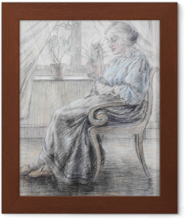 Leo Gestel - Woman Knitting Framed Poster - Reproductions