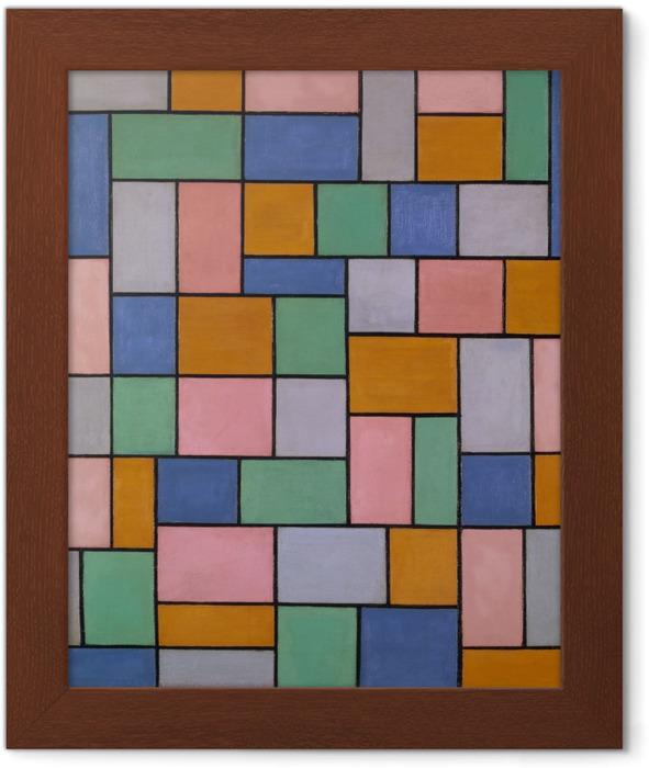 Innrammet plakat Theo van Doesburg - Komposition i dissonanser - Reproductions