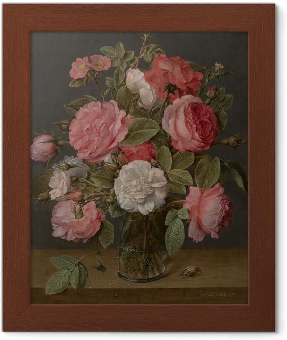 Ingelijste Poster Jacob van Hulsdonck - Roses in a Glass Vase - Reproducties