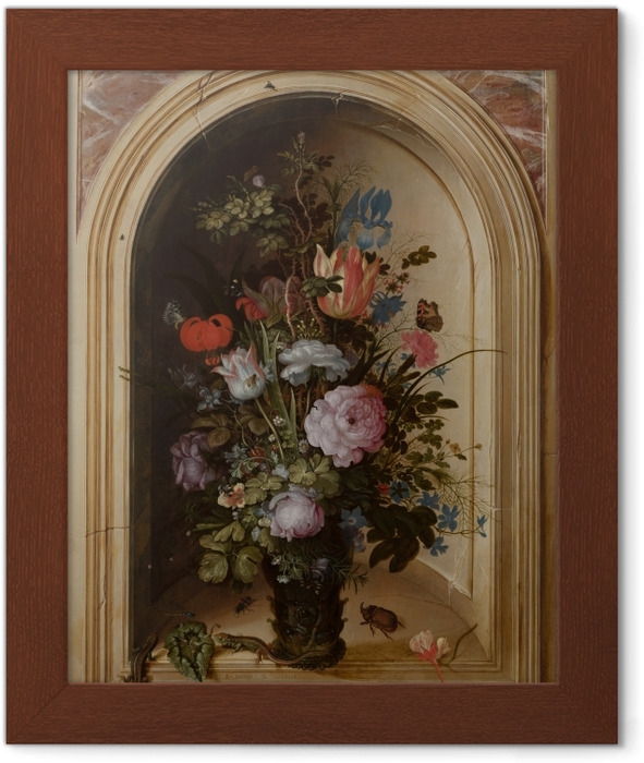 Roelant Savery - Vase with Flowers in a Stone Niche Framed Poster - Reproductions
