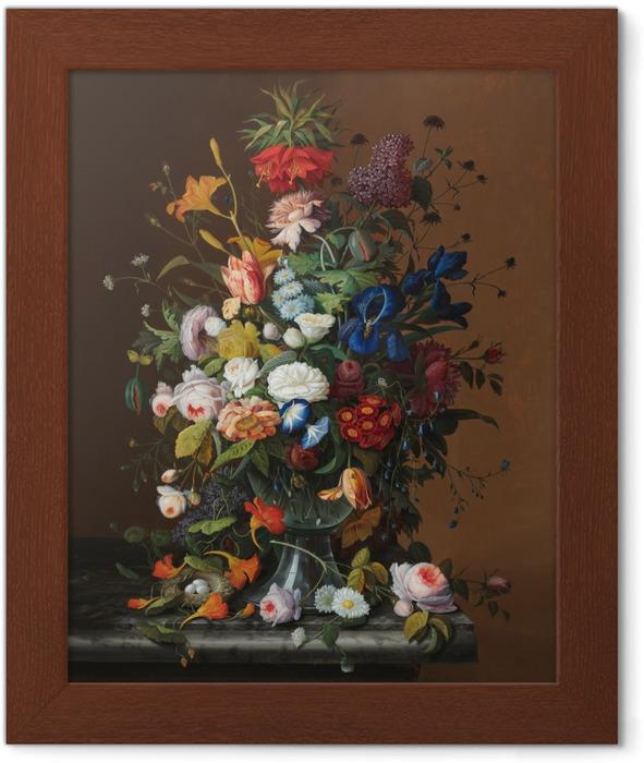 Severin Roesen - Flower Still Life with Bird's Nest Framed Poster - Reproductions