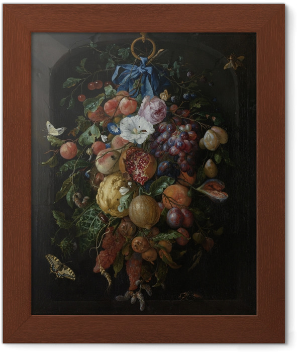 Jan Davidsz - Festoon of Fruit and Flowers Framed Poster - Reproductions