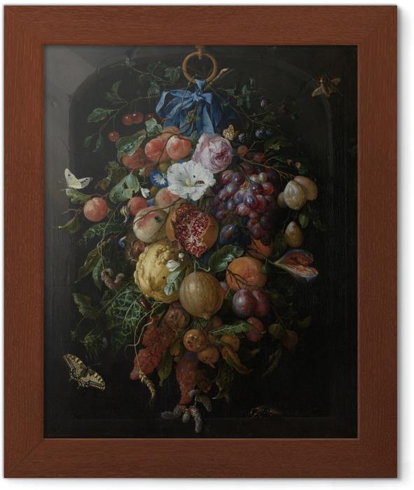 Póster Enmarcado Jan Davidsz - Festoon of Fruit and Flowers - Reproducciones