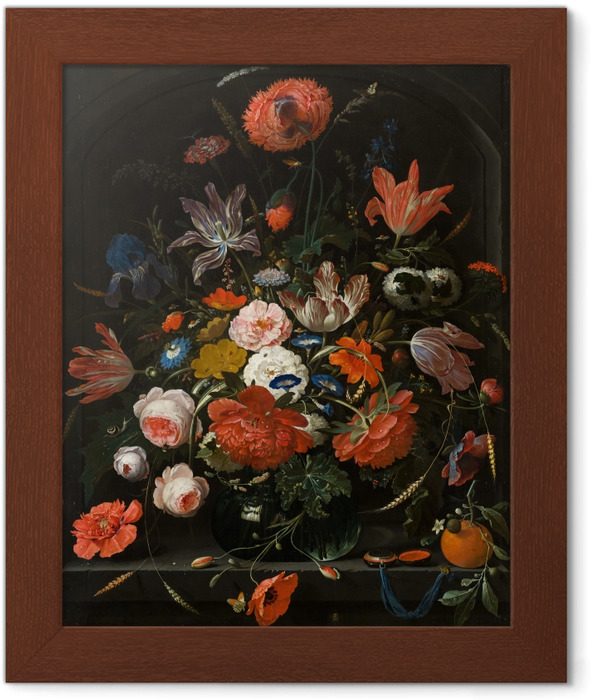 Abraham Mignon - Flowers in a Glass Vase Framed Poster - Reproductions