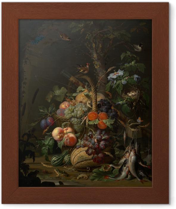 Ingelijste Poster Abraham Mignon - Still Life with Fruit, Fish and a Nest - Abraham Mignon