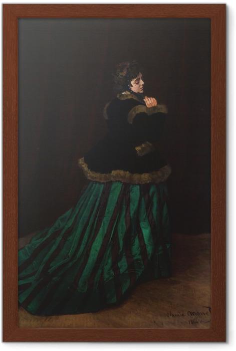Gerahmtes Poster Claude Monet - Camille im grünen Kleid - Reproduktion
