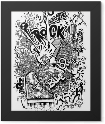 Hand drawing Doodle,Collage with musical instruments Framed Poster