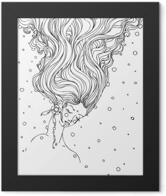 hand drawn ink doodle girls face and flowing hair on white background. design for adults, poster, print, t-shirt, invitation, banners, flyers. sketch. vector eps 8. Framed Poster
