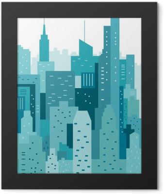 Cityscape geometric vector illustration. Cityline. City Landscape Framed Poster