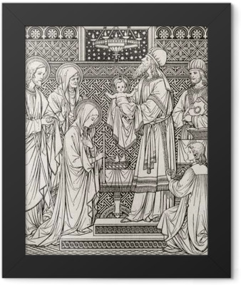 BRATISLAVA, SLOVAKIA, NOVEMBER - 21, 2016: The lithography of Presentation in the Temple by unknown artist with the initials F.M.S from end of 19. cent. and printed by Typis Friderici Pustet. Framed Poster