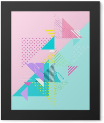 Abstract colorful geometric composition Framed Poster