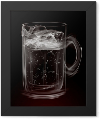Artistic Smoke Beer Mug Framed Poster