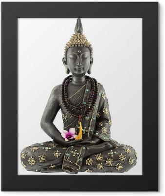 Bouddha avec chapelet de prière et fleur d'orchidée Framed Poster